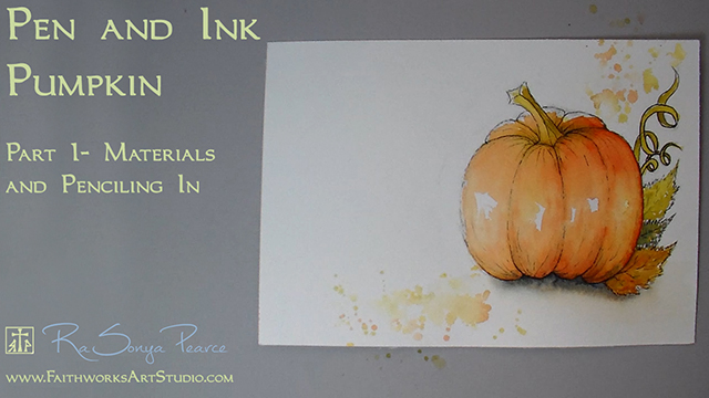 Pen and Ink Pumpkin Lesson 1 www.FaithworksArtStudio.com