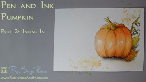 Pen and Ink Pumpkin Lesson 2 www.FaithworksArtStudio.com