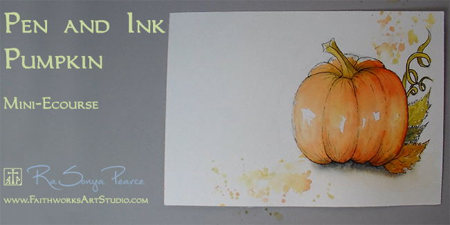 Pen and Ink Pumpkin Series www.FaithworksArtStudio.com