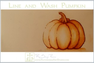 Line and Wash Pumpkin-www.FaithworksartStudio.comGraphite Transfer Method-www.FaithworksArtStudio.com
