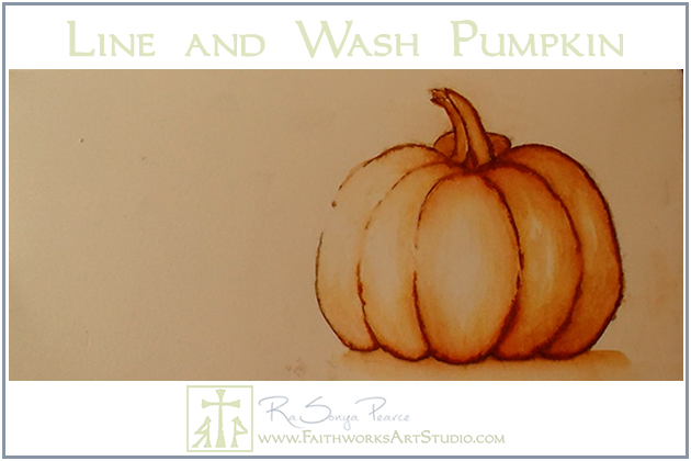 Line and Wash Pumpkin-www.FaithworksartStudio.comGraphite Transfer Method-www.FaithworksArtStudio.com